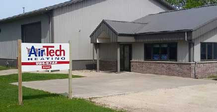 Air Tech Heating company building in Fond du Lac
